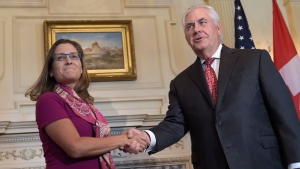 U.S. Secretary of  State Rex Tillerson plans to meet Foreign Affairs Minister Chrystia Freeland.