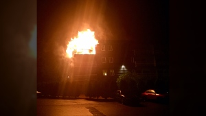 Fire broke out at the Creekside Apartments on Granville Street at Highland Drive in Port Hardy at around 3:45 a.m. Aug. 16, 2017. (Courtesy Rick Jones)