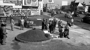 In this March 23, 1951 file photo, two styles of bomb shelters are shown for sale at Bomb Shelter Mart in Los Angeles. For some baby boomers, North Korea's nuclear advances and the Trump administration's bellicose response have prompted flashbacks to a time when they were young, and when they prayed each night that they might awaken the next morning. For their children, the North Korean crisis was a taste of what the Cold War was like. (AP Photo/Don Brinn, File)