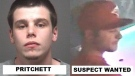 Barrie Police have released pictures of Max Pritchett (left) and a second suspect (right) both wanted in connection to a shooting in Barrie on Aug. 13, 2017. (Barrie Police)
