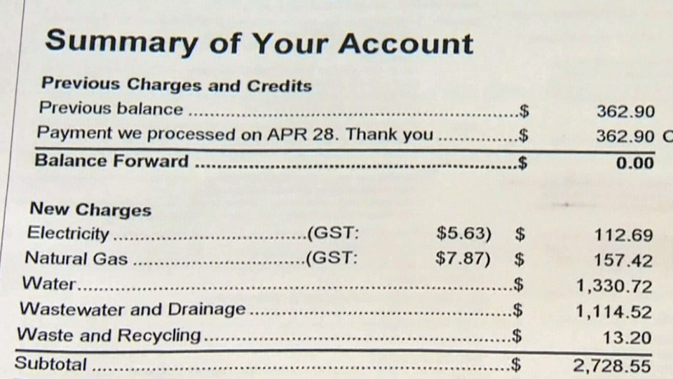 A copy of the astronomically high water bill. (CTV Calgary)