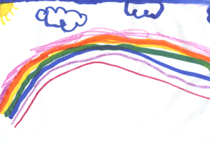 Weather art by Sofia, age 5.