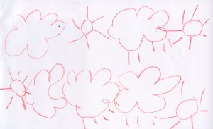 Weather art by Phoebe, age 4.