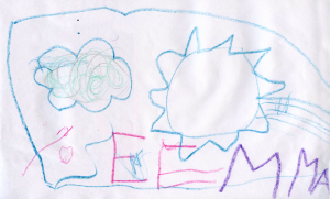 Weather art by Emma, age 3.