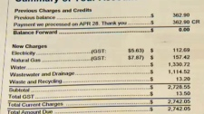 Section of the Lalonde family's ENMAX bill showing water and wastewater charges in excess of $1,100 each