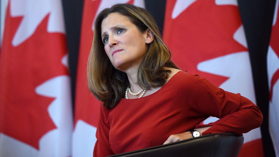 Foreign Affairs Minister Chrystia Freeland at the University of Ottawa in Ottawa on Aug. 14, 2017. (Sean Kilpatrick / THE CANADIAN PRESS)
