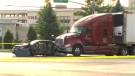 Two people were rushed to hospital with critical injuries after a transport truck rear-ended a vehicle in Brampton on August 17, 2017.