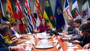 Foreign Affairs Minister Chrystia Freeland, centre, holds a roundtable consultation on NAFTA with labour stakeholders in Toronto on Tuesday, August 15, 2017. THE CANADIAN PRESS/Nathan Denette