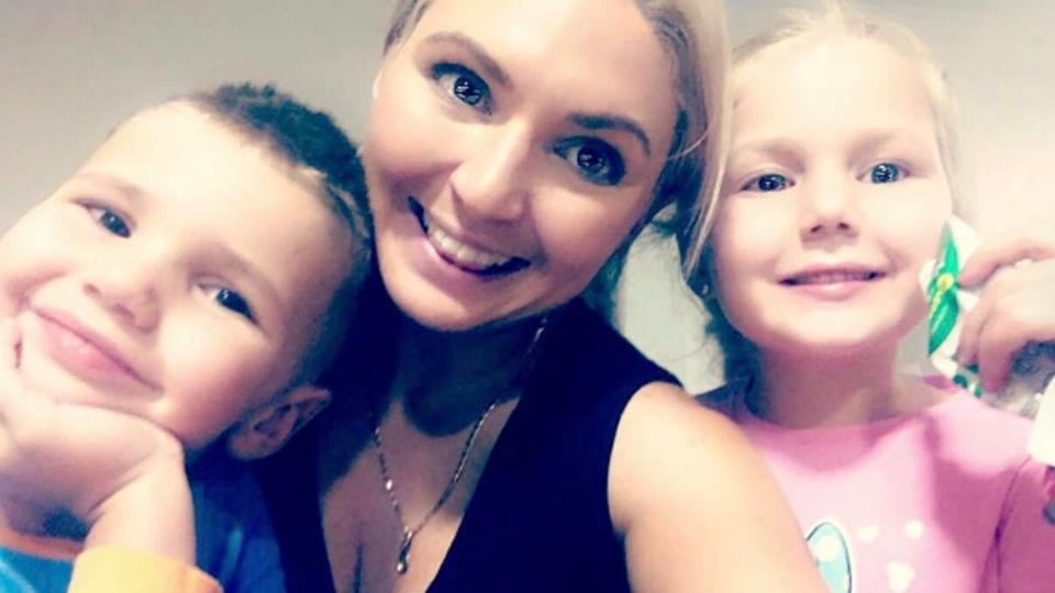 Australian bodybuilder Meegan Hefford is shown with her children in this image from her Instagram account.