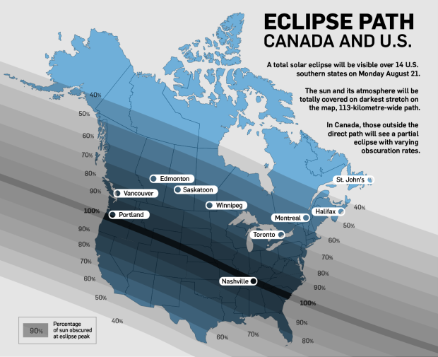 Map of the projected Solar Eclipse path across Canada and the United States, Aug. 21 2017 | CTV News