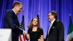 U.S. Trade Representative Robert Lighthizer, left, shakes hands with Canadian Foreign Affairs Minister Chrystia Freeland, accompanied by Mexico's Secretary of Economy Ildefonso Guajardo Villarreal, after they spoke at a news conference, Wednesday, Aug. 16, 2017, at the start of NAFTA renegotiations in Washington. (AP Photo / Jacquelyn Martin)