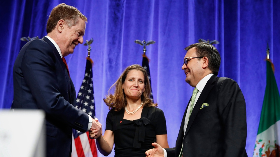 U.S. Trade Representative Robert Lighthizer, left, shakes hands with Canadian Foreign Affairs Minister Chrystia Freeland, accompanied by Mexico's Secretary of Economy Ildefonso Guajardo Villarreal, after they spoke at a news conference at the start of NAFTA renegotiations in Washington on Wednesday, Aug. 16, 2017. (AP / Jacquelyn Martin)