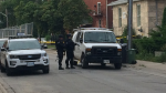 Officers wearing tactical gear at the scene of an incident on Yarmouth Street. (Aug. 17, 2017)