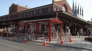 ByWard Market vendors will be able to sell goods even in the cold of winter in these climate controlled structures being installed right beside the ByWard Market building on Aug. 17, 2017.