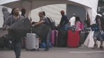 Asylum seekers are processed at an unofficial border crossing at Roxham Rd. in Hemmingford, Quebec.