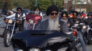 The group of bikers nearly 100 strong from the B.C. Sikh Motorcycle Club rode together in a symbol of unity against the gunfire plaguing their city. (CTV)