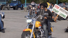 A group of 100 motorcyclists rode through the city and presented a list of demands to officials in hopes of keeping kids safe.