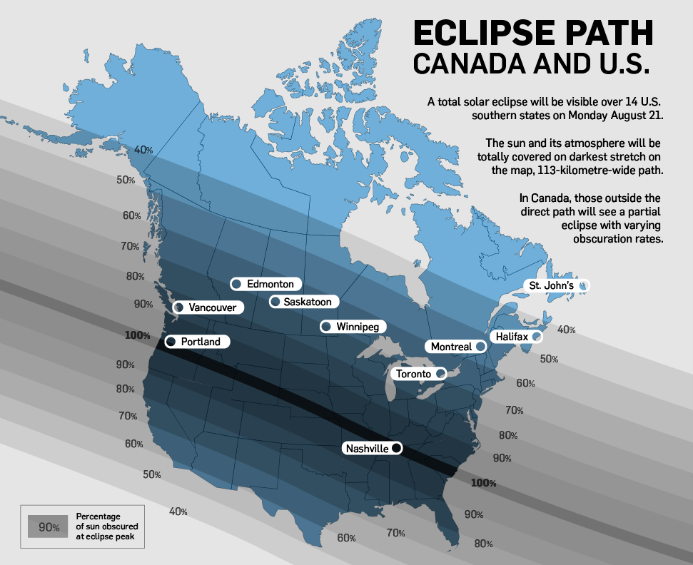 Solar Eclipse Map Track The Path Across Canada And The US CTV - Us total eclipse 2017 map
