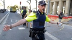 A police officer cordon off a street in Barcelona, Spain, Thursday, Aug. 17, 2017. (AP Photo/Manu Fernandez)