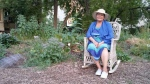 Audrey Logan (pictured) sits in Klinic Garden, where she took indigenous practices to create what she calls a self-sustaining garden. (Source: Dan Timmerman/CTV Winnipeg)