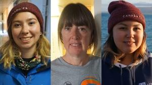 From left: Aviaq Johnston, Charlene Bearhead and Jena Merkosak (Omar Sachedina / CTV News)