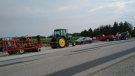 A blockade at construction sites for wind turbines north of Chatham, Ont. (Courtesy Water Wells First)