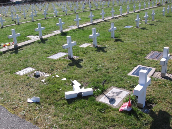 RCMP in Port Alberni, B.C., have launched an investigation after reports the Field of Honour had been vandalized.  April 14, 2009.  (RCMP handout photo)