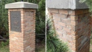 RCMP released photos of the brick column on Woodlake Rd. and Woodlake Manor after two of four brass plaques were pulled off of it at some point between the night of August 15 and morning of August 16. Supplied.