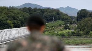 A South Korean soldier watches the north side at the Imjingak Pavilion in Paju, South Korea on Aug. 16. 2017. (AP / Lee Jin-man)
