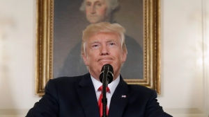 U.S. President Donald Trump pauses while speaking in the Diplomatic Reception Room of the White House in Washington on Aug. 14, 2017. (AP / Evan Vucci)