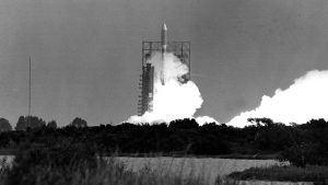 In this Saturday, Aug. 20, 1977 file photo, the Voyager 2 spacecraft, atop a Titan Centaur rocket, is launched from Cape Canaveral, Fla. The spacecraft will explore the outer planets Saturn and Jupiter. (AP Photo)
