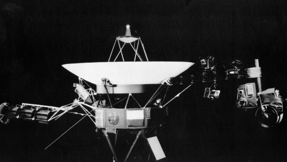 This undated photo provided by NASA's Jet Propulsion Lab showing the Voyager spacecraft in Pasadena, Calif. On the right side of the craft is girder-like boom which holds science project equipment and the imaging camera. (JPL/NASA via AP)