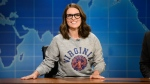This Aug. 17, 2017, photo provided by NBC shows Tina Fey on set during the an episode of 'Weekend Update: Summer Edition,' in New York. (Will Heath/NBC via AP)