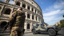 Police in the Colosseum area of Rome
