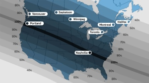 Solar Eclipse over Canada Map