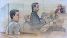 Accused Yahoo hacker Karim Baratov appears in court on August 28, 2017 where he waived his right to an extradition hearing. (Sketch by John Mantha)
