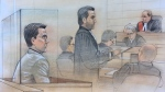Accused Yahoo hacker Karim Baratov appears in court on August 23, 2017 where he waived his right to an extradition hearing. (Sketch by John Mantha)