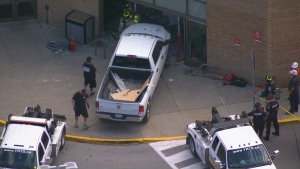 Truck smashes into salon at mall