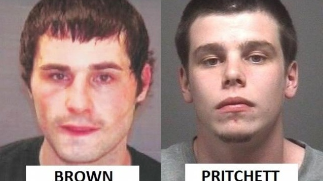 Dylan Brown, left, and Max Cameron Pritchett, right, are wanted by Barrie, Ont. police for a targeted shooting. (Barrie police)