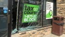 A window at H&R Block on Eighth Street in Saskatoon was left damaged after a car crashed into it Friday, Aug. 18, 2017. (Daniel Shingoose/CTV Saskatoon)
