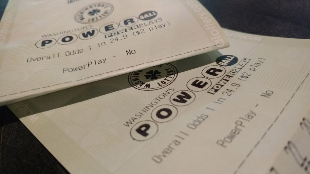 A Powerball lottery ticket is seen in this image from Friday, Aug. 18, 2017.