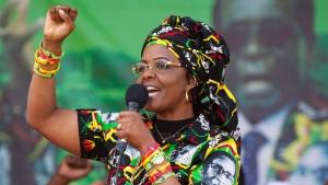 In this July 29, 2017 file photo Zimbabwe's first lady, Grace Mugabe, greets supporters at a rally in Zimbabwe. (AP Photo/Tsvangirayi Mukwazhi, File)