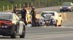 A motorcyclist was killed when her bike slammed into the back of a car on Highway 401 at Foldens Line. (Aug, 18, 2017)