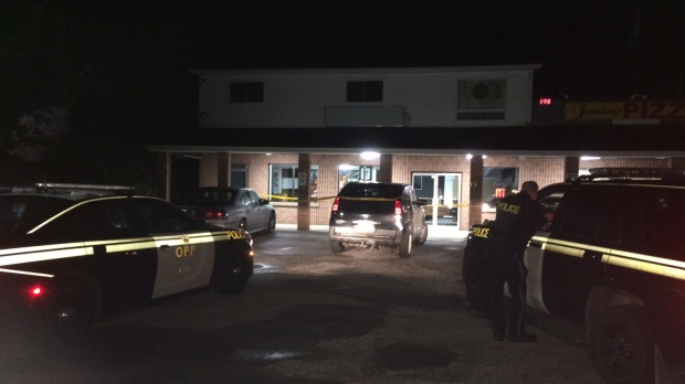 The OPP investigate a stabbing in Wasaga Beach, Ont. on Friday, Aug. 19, 2017. (Dave Erskine/ CTV Barrie)