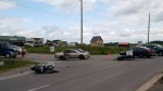 Two motorcyclists were involved in a serious crash on Highway 7A in Port Perry, Ont. on Saturday, Aug. 19, 2017. (OPP Sgt. Kerry Schmidt/ Twitter)