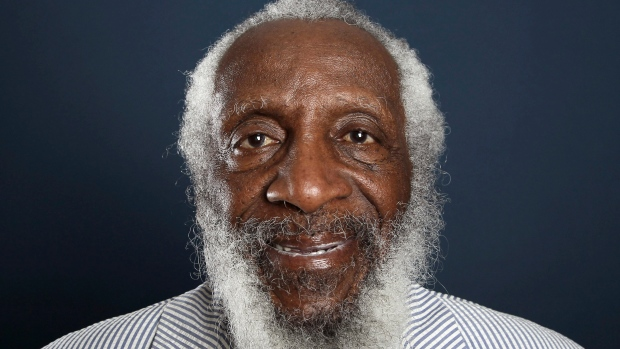 FILE - In this July 21, 2012 file photo, comedian and activist Dick Gregory poses for a portrait during the PBS TCA Press Tour in Beverly Hills, Calif. (Photo by Matt Sayles/Invision/AP, File)