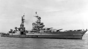 In this July 10, 1945, photo provided by U.S. Navy media content operations, USS Indianapolis (CA 35) is shown off the Mare Island Navy Yard, in Northern California, after her final overhaul and repair of combat damage. (U.S. Navy via AP)