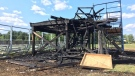 Remains of the AKO Fratmen press box located in the E.J. Lajeunesse Secondary School athletic field at 600 E C. Row Ave. near North Service Rd. Saturday Aug. 19. (Photo by AM800's Gord Bacon)