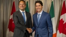 Prime Minister Justin Trudeau shakes hands with Irish Taoiseach Leo Varadkar during a bilateral meeting in Montreal, Sunday, August 20, 2017. THE CANADIAN PRESS/Graham Hughes