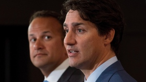 Prime Minister Justin Trudeau, right, speaks during a news conference with Irish Taoiseach Leo Varadkar in Montreal, Sunday, August 20, 2017. THE CANADIAN PRESS/Graham Hughes